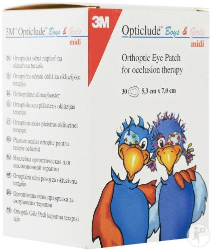 3M Opticlude Boys&Girls Midi Pansement Oculaire 30 Pièces (2538PE)
