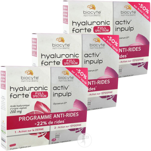 Biocyte Programme Anti-Rides Pack Hyaluronic Forte 200mg + Activ Inpulp 2+1 Gratuit