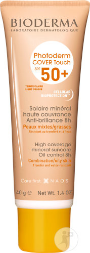 Bioderma Photoderm Cover Touch Soin Solaire Minéral Anti-Brillance IP50+ Teinte Claire Tube 40g