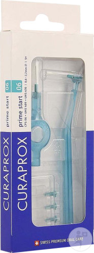Curaprox CPS 06 Prime Start Brosse Interdentaire 2,2mm Turquoise 5 Pièces + 2 Manches