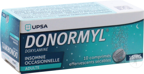 Donormyl 15mg Doxylamine Insomnie Occasionnelle 10 Comprimés Effervescents Sécables