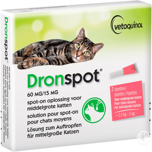 Dronspot 60mg/15mg Solution Pour Spot-On Pour Chats Moyens 2 Pipettes