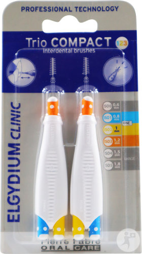 Elgydium Clinic Trio Compact Brossettes Interdentale 0,8mm + 1mm Pièces 2