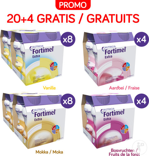 Fortimel Extra Mix Pack Selection Bouteilles 24x200ml Promo 5+1 Pack Gratuit