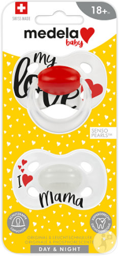 Medela Baby Sucettes Day & Night 18+ Mois Modèle Signature Love/Mama 2 Pièces