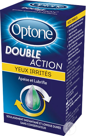 Optone Double Action Solution Oculaire Yeux Irrités Flacon 10ml