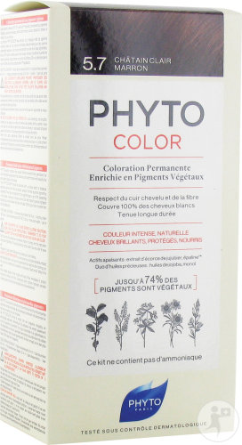 Phyto Phytocolor Coloration Permanente 5.7 Châtain Clair Marron 1 Kit