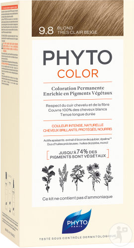 Phyto Phytocolor Coloration Permanente 9.8 Blond Très Clair Beige 1 Kit