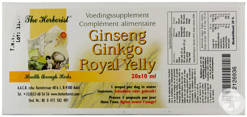 The Herborist Ginseng Ginkgo Royal Yelly Ampoules 20x10ml