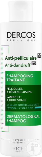 Vichy Dercos Anti-Pelliculaire Shampoing Traitant Cheveux Normaux A Gras Flacon 200ml