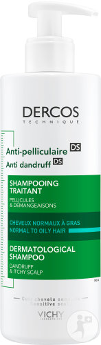 Vichy Dercos Anti-Pelliculaire Shampoing Traitant Cheveux Normaux A Gras Flacon 390ml