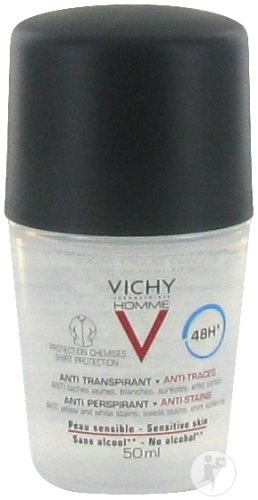 Vichy Homme Déodorant Anti Transpirant Anti-Traces 48H Peau Sensible Roll-On 50ml
