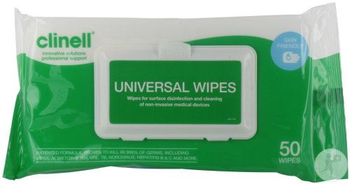 Clinell Universel Wipes Clip Pack 50 Stuks