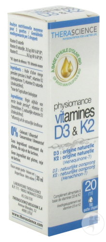 Physiomance Vitamines D3 & K2 Voedingssupplement 20ml (PHY309)