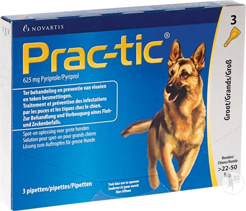 Prac-tic 625mg Pyriprole Spot-On Oplossing Voor Grote Honden 3 Pipetten
