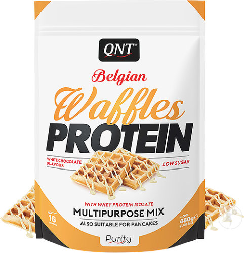QNT Purity Belgian Waffles Protein Witte Chocolade Smaak 480g