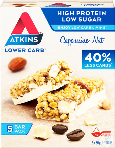 Atkins Cappuccino Nuss Protein Snack Riegel Multipack 5x30g