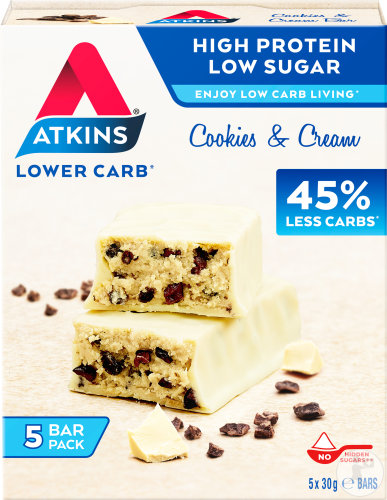 Atkins Cookies And Cream Riegel Protein Snack Multipack 5x30g