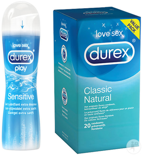 Durex Classic Natural 20 Kondome + Durex Play Sensitive Gleitmittel Flakon 50ml