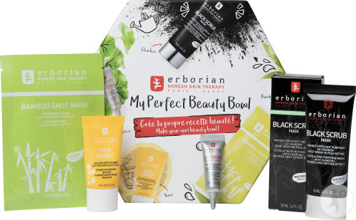 Erborian Kit My Korean Beauty Bowl Black Scrub + Bamboo Shot Mask + Yuza Sorbet Tag + Cc Creme