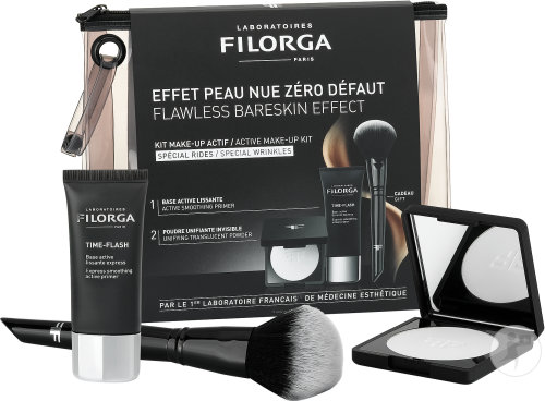 Filorga Make Up Actif Kit Time Flash Creme 30ml + Flash Nude Pulver 9g + 1 Pinsel Gratis