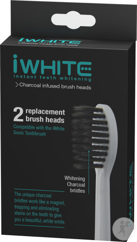 IWhite Charcoal Infused Brush Heads Aktivkohleborsten 2 Stück