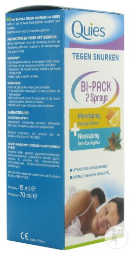 Quies Bipack Anti-Schnarch Nasenspray 15ml + Mundspray 70ml