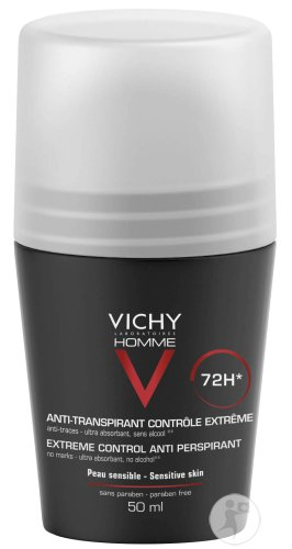 Vichy Homme Deo Extreme Control 72h Roll-On 50ml