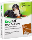 Drontal Large Dog Tasty 525/504/175mg Infections Mixtes Nématodes Et Cestodes Chiens 2 Comprimés