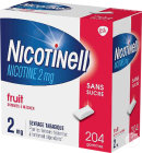 Nicotinell Nicotine 2mg Fruit Sans Sucre 204 Gommes À Mâcher