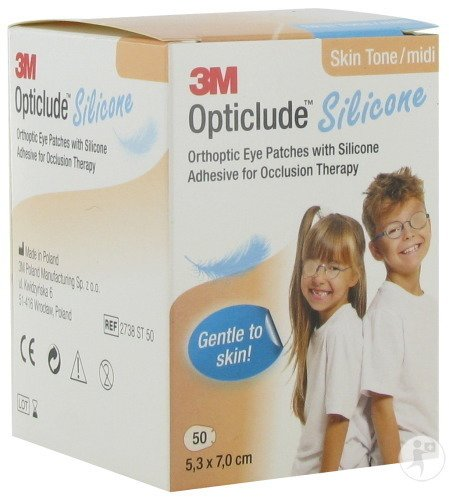 3M Opticlude Silicone Pansements Orthoptiques Skin Tone Midi Unisexe 50 Pièces