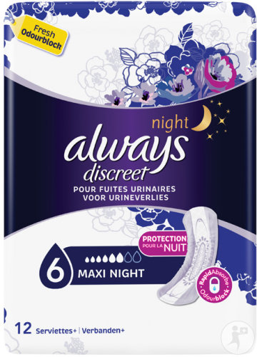 Always Discreet Incont Pads Maxi Night Sp 12