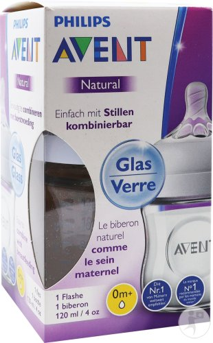 Philips Avent Natural biberon 120ml Verre - SCF051/17 (0m+) - 1x