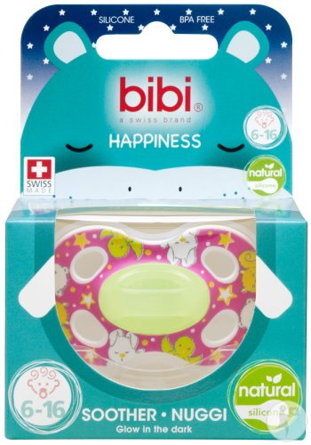 Bibi Sucette Happiness Natural 4 Friends Glow In The Dark 6-16 Mois 1 Pièce