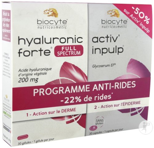 Biocyte Programme Anti-Rides Pack Hyaluronic Forte 200mg 30 Gélules + Activ Inpulp 30 Capsules