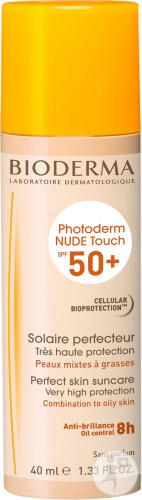 Bioderma Photoderm Nude Touch IP50+ Solaire Perfecteur Anti-Brillance Teinte Naturelle Tube 40ml