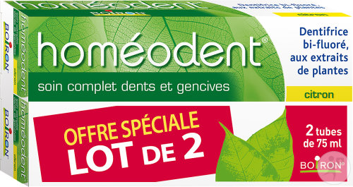 Boiron Homéodent Dentifrice Soin Complet Dents Et Gencives Citron 2x75ml