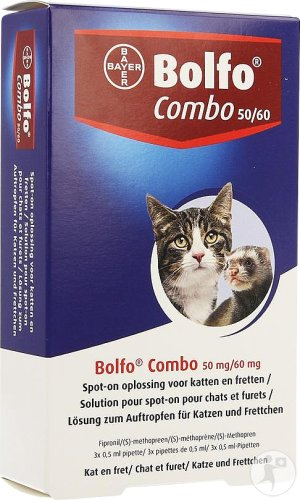 Bolfo Combo 50mg/60mg Solution Pour Spot-On Pour Chats Et Furets Pipettes 3x0,5ml