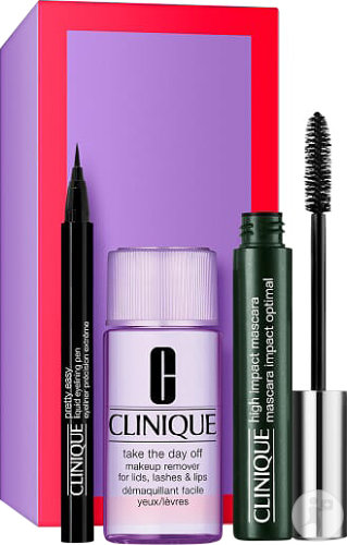 Clinique Coffret High Impact Mascara Noir 7ml + Baume Démaquillant 15ml + Quickliner Intense 0,14g