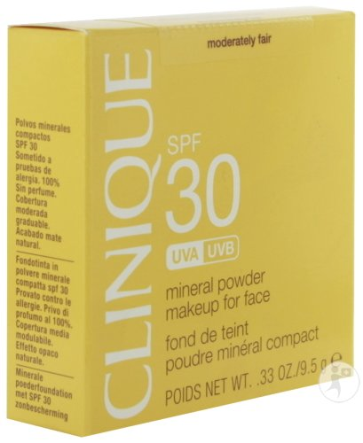 Clinique Sun Fond De Teint Poudre Minérale Compact IP30 Visage Moderately Fair 9,5g