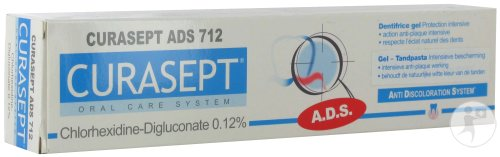 Curasept ADS 712 Pâte Dentifrice Gel 0,12% Chlorhex. Tube 75ml