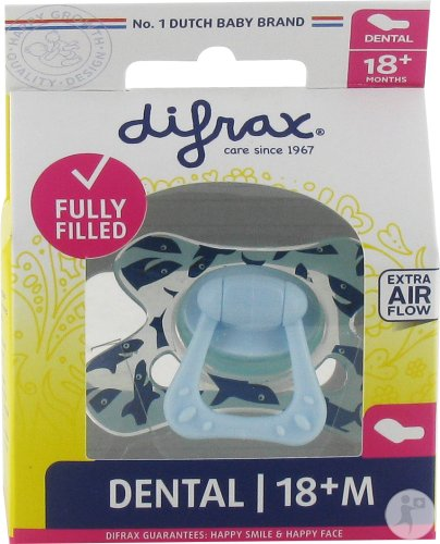 Difrax Sucette Silicone Dental Extra Forte Boy 18+ Mois (342)