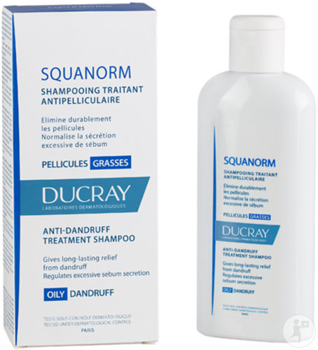 Ducray Squanorm Shampoing Traitant Antipelliculaire Pellicules Grasses Flacon 200ml
