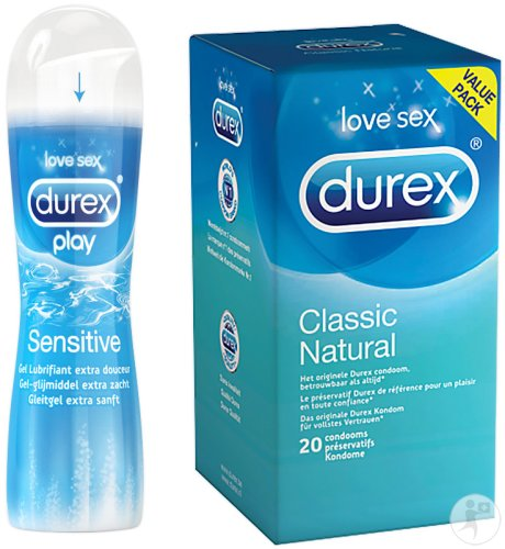 Durex Classic Natural 20 Préservatifs + Durex Play Sensitive Lubrifiant 50ml