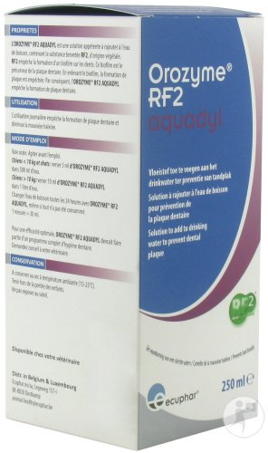 Ecuphar Orozyme RF2 Aquadyl Anti-Plaque Chien Et Chat Flacon 250ml