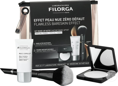 Filorga Coffret Make-Up Actif Pore-Express 30ml + Flash-Nude Poudre 6,2g + 1 Pinceau Offert