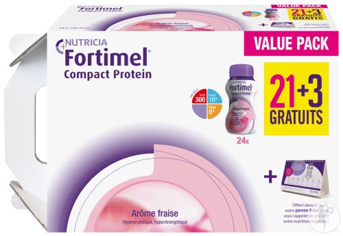 Fortimel Compact Protein Fraise 24x125ml Promo 21+3 Gratuits