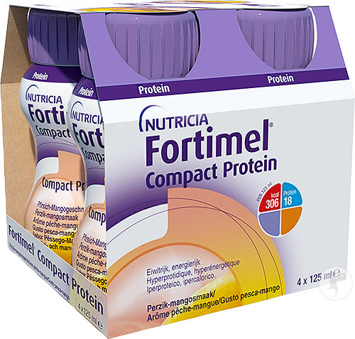 Fortimel Compact Protein Pêche-Mangue Bouteilles 4x125ml
