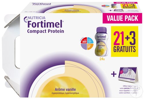 Fortimel Compact Protein Vanille 24x125ml Promo 21+3 Gratuits