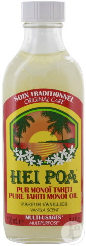 Hei Poa Soin Traditionnel Pur Monoï Tahiti AO Multi-Usages Parfum Vanillier Flacon 100ml